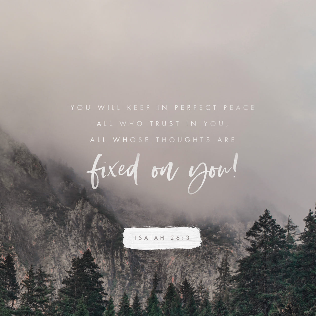 Isaiah 26:3 Thou wilt keep him in perfect peace, whose mind is stayed on thee: because he trusteth in thee. | King James Version (KJV)