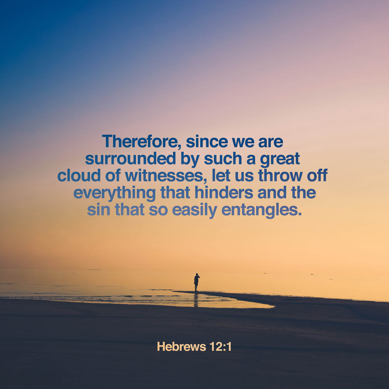 Hebrews 12:1 Wherefore seeing we also are compassed about with so great a cloud of witnesses, let us lay aside every weight, and the sin which doth so easily beset us, and let us run with patience the race that is | King James Version (KJV)