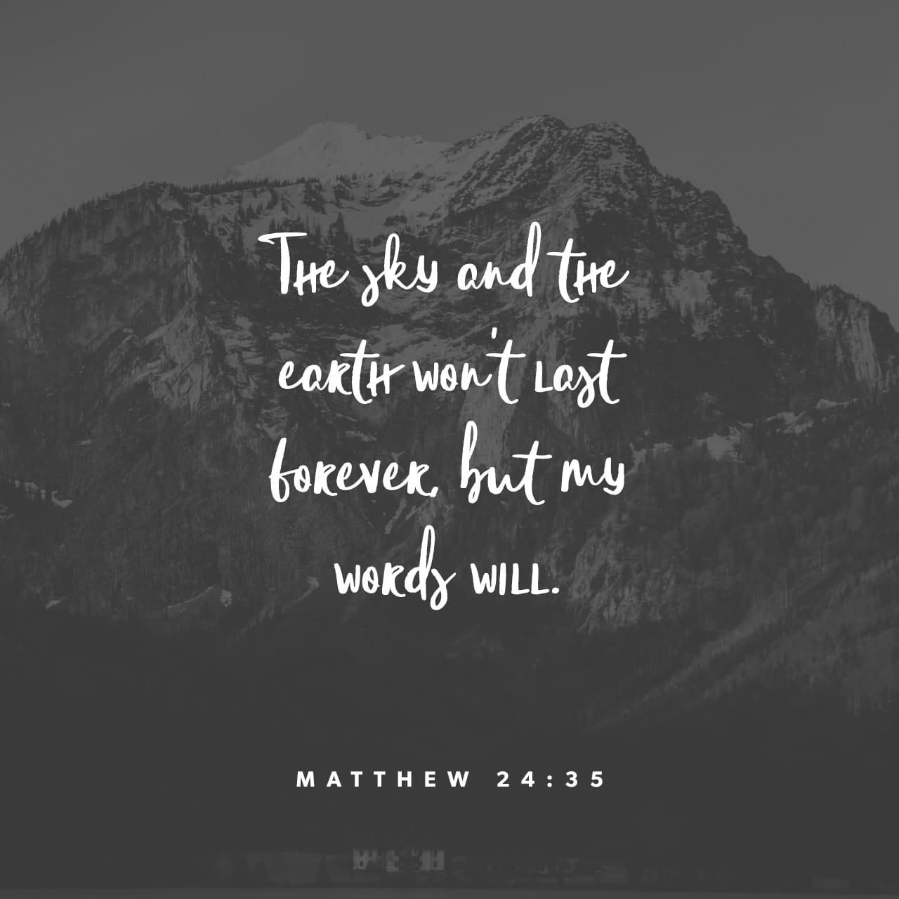 Mateo 24:35 El cielo y la tierra desaparecerán, pero mis palabras no desaparecerán jamás. | Nueva Traducción Viviente (NTV)