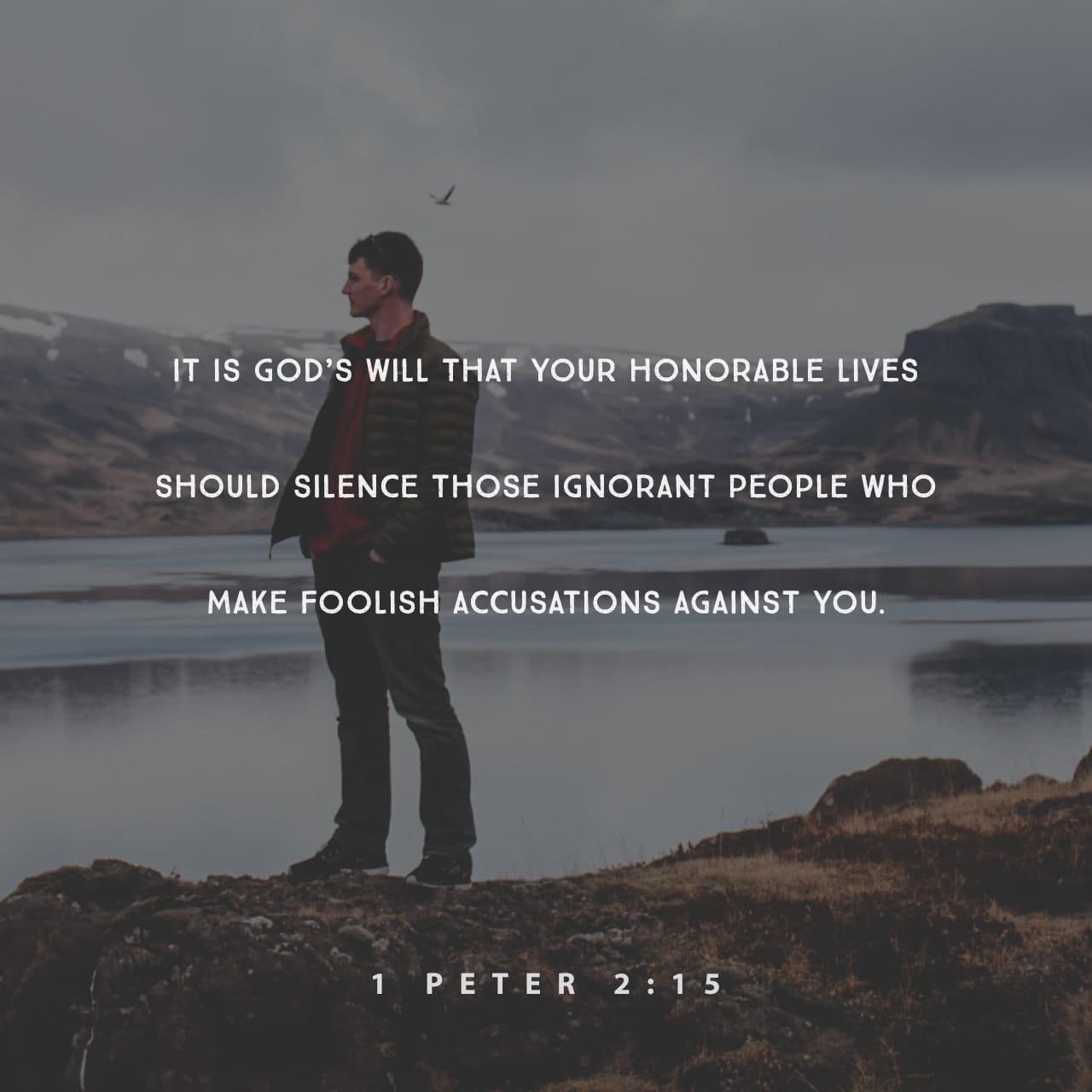 1 Pedro 2:15 La voluntad de Dios es que la vida honorable de ustedes haga callar a la gente ignorante que los acusa sin fundamento alguno. | Nueva Traducción Viviente (NTV)