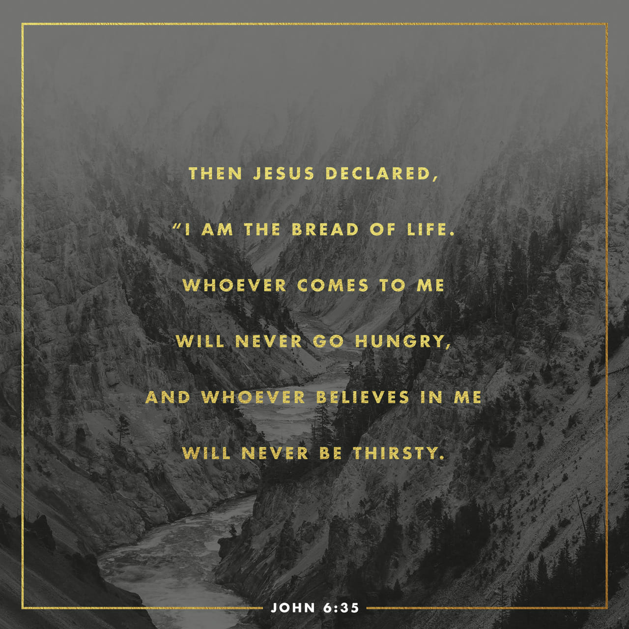 John 6:35 And Jesus said unto them, I am the bread of life: he that cometh to me shall never hunger; and he that believeth on me shall never thirst. | King James Version (KJV)