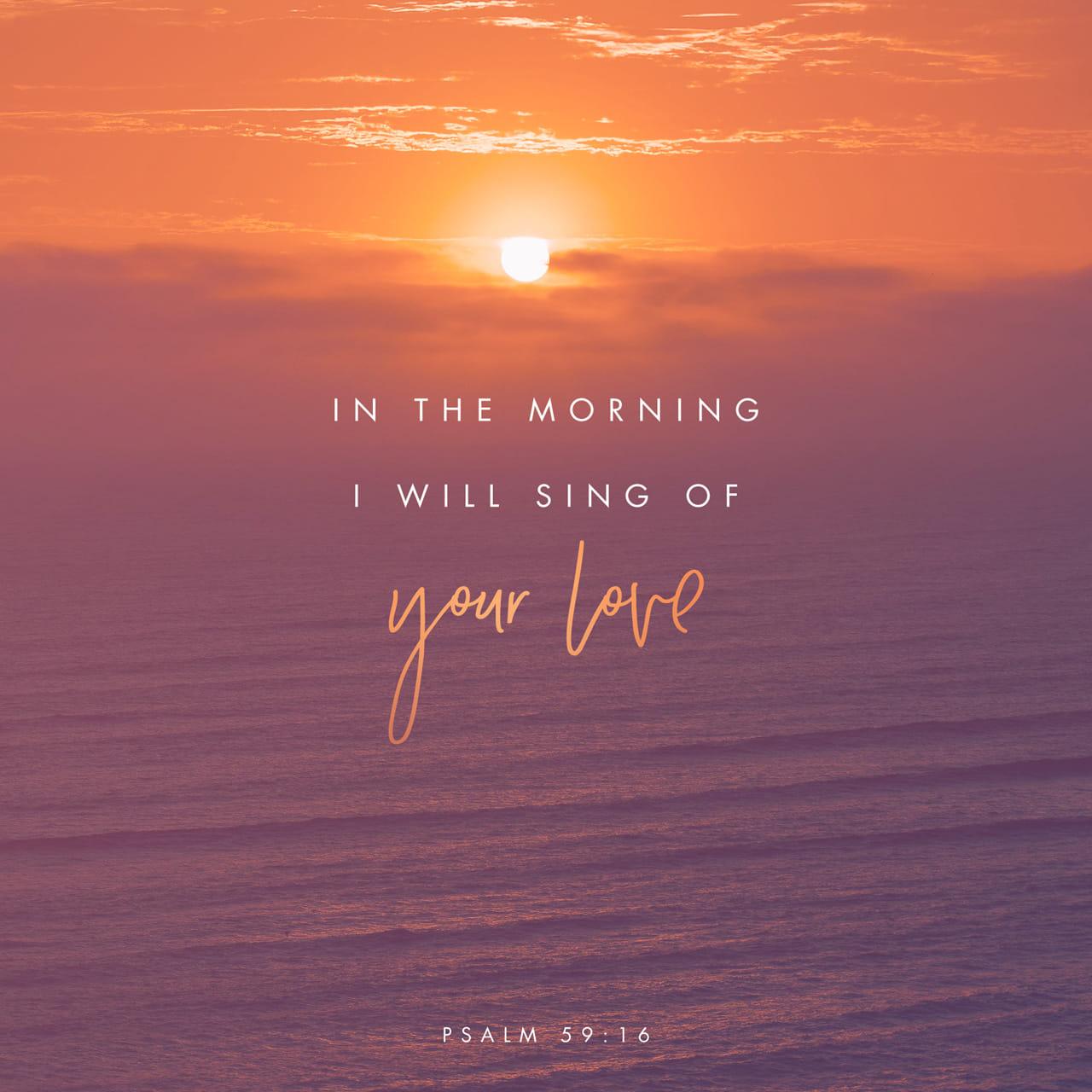 Salmos 59:16 En cuanto a mí, yo cantaré de tu poder; cada mañana cantaré con alegría acerca de tu amor inagotable. Pues tú has sido mi refugio, un lugar seguro cuando estoy angustiado. | Nueva Traducción Viviente (NTV)