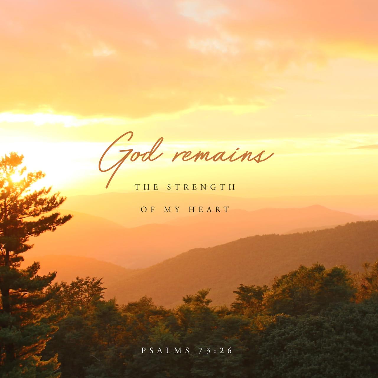 Salmos 73:26 Puede fallarme la salud y debilitarse mi espíritu, pero Dios sigue siendo la fuerza de mi corazón; él es mío para siempre. | Nueva Traducción Viviente (NTV)