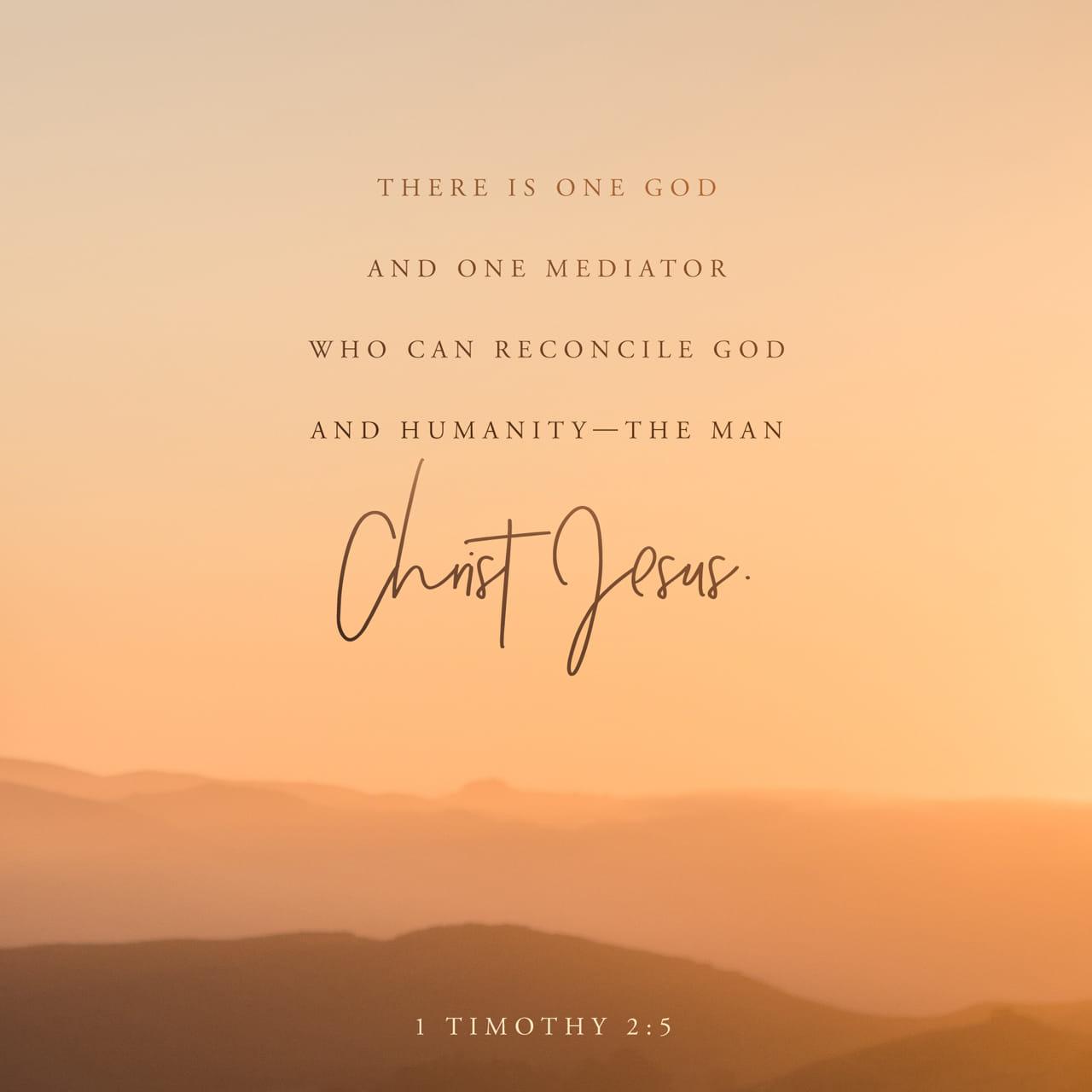 1 Timoteo 2:5 Pues, Hay un Dios y un Mediador que puede reconciliar a la humanidad con Dios, y es el hombre Cristo Jesús. | Nueva Traducción Viviente (NTV)
