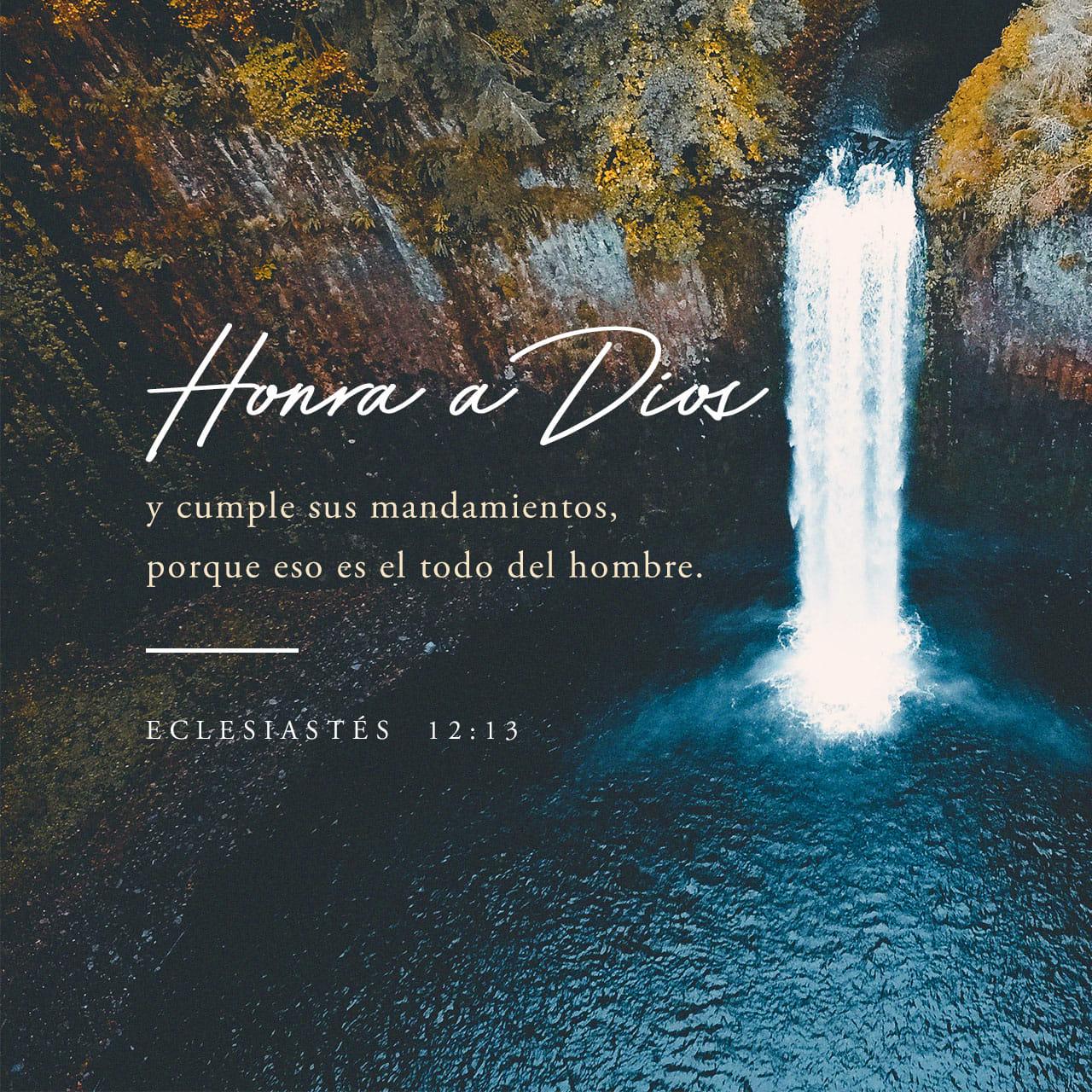 Eclesiastés 12:13 El fin de todo el discurso oído es éste: Teme a Dios, y guarda sus mandamientos; porque esto es el todo del hombre. | Biblia Reina Valera 1960 (RVR1960)
