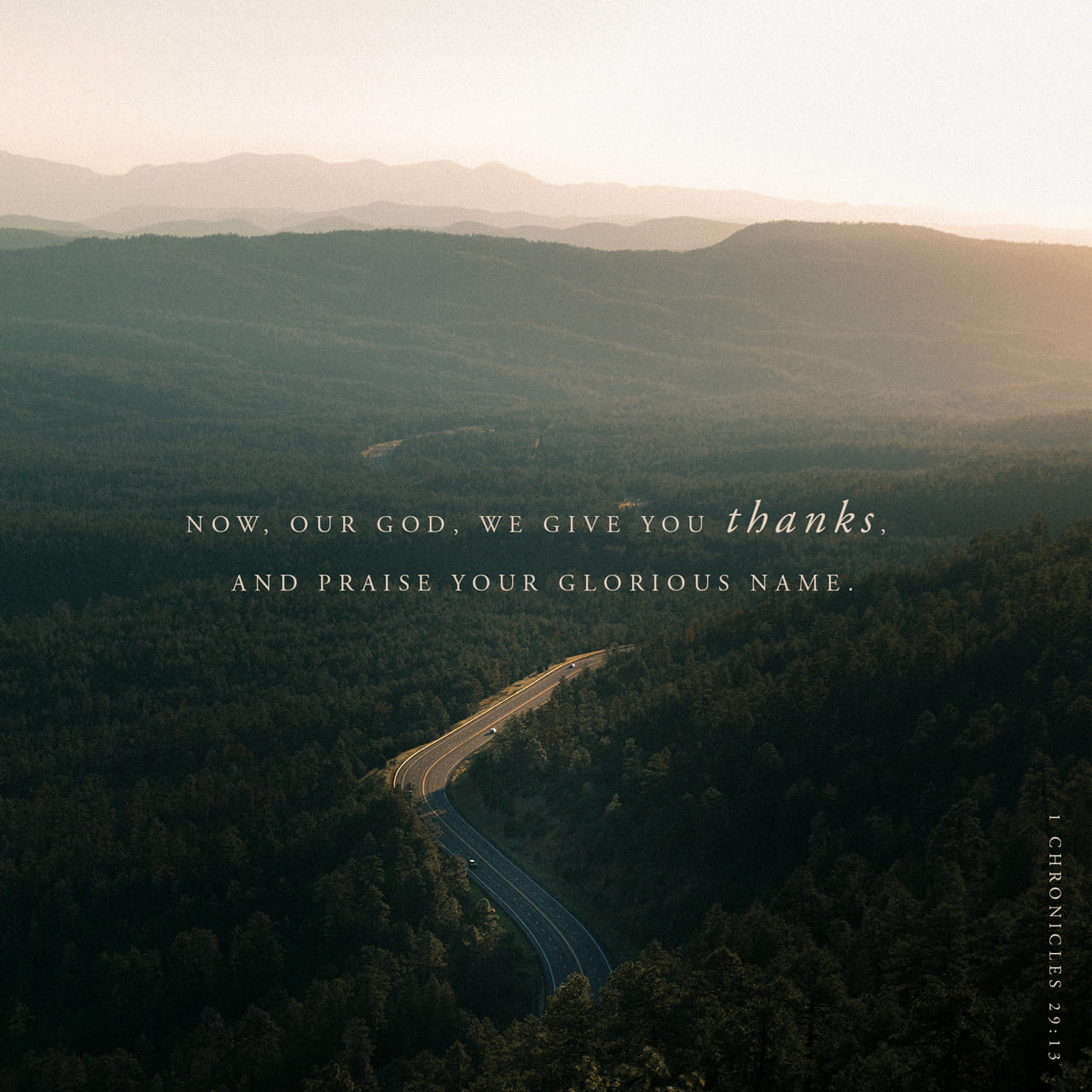 1 Chronicles 29:13 Now, our God, we give you thanks, and praise your glorious name. | New International Version (NIV)