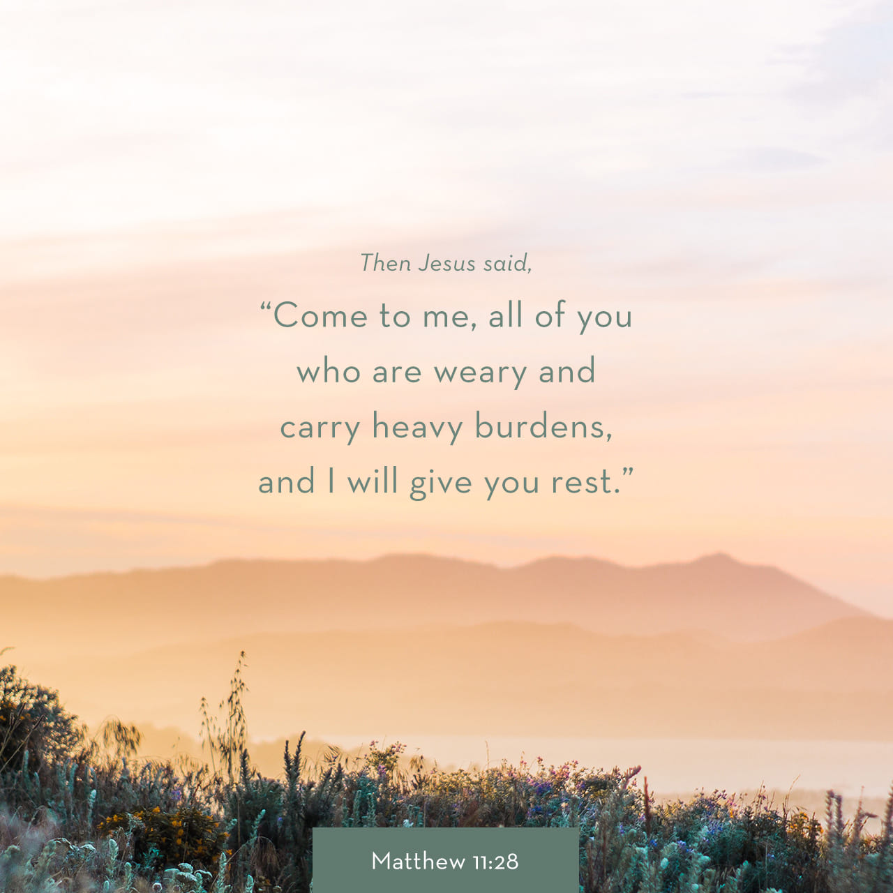 Come to me all of you who are weary and carry heavy burdens, and I will give you rest.