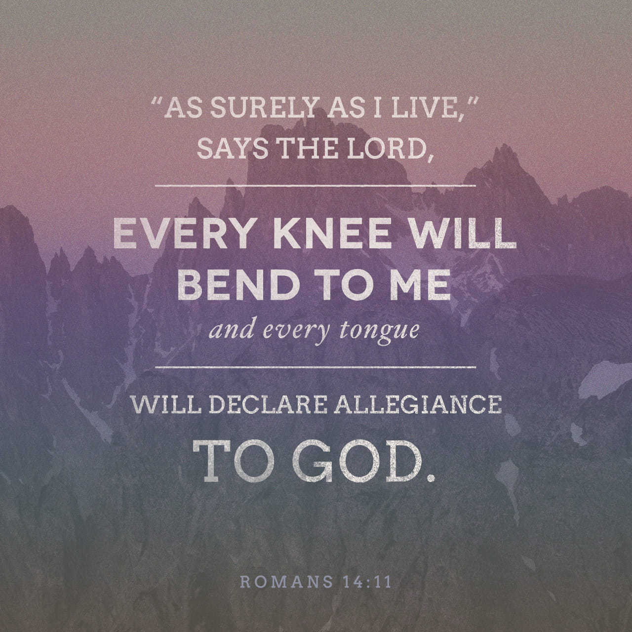 Romans 14:11 For it is written, As I live, saith the Lord, every knee shall bow to me, and every tongue shall confess to God. | King James Version (KJV) | Download The Bible App Now