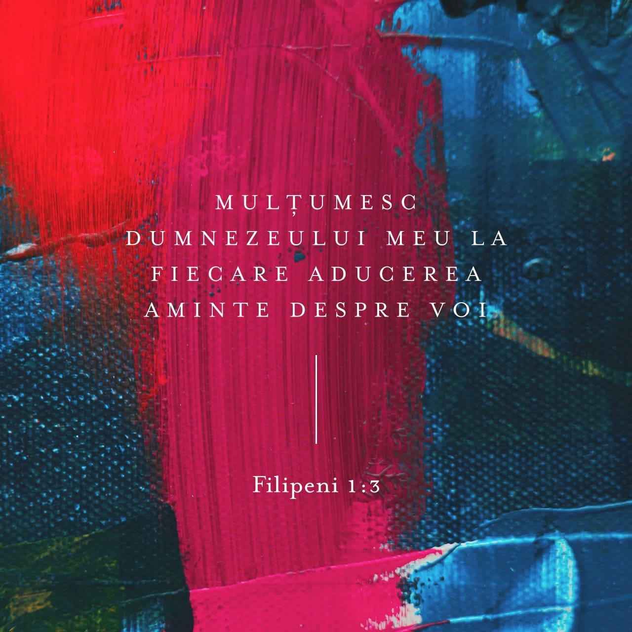 Îi mulțumesc Dumnezeului meu în fiecare aducere-aminte cu privire la voi. - Filipeni 1:3 - Verset ilustrat