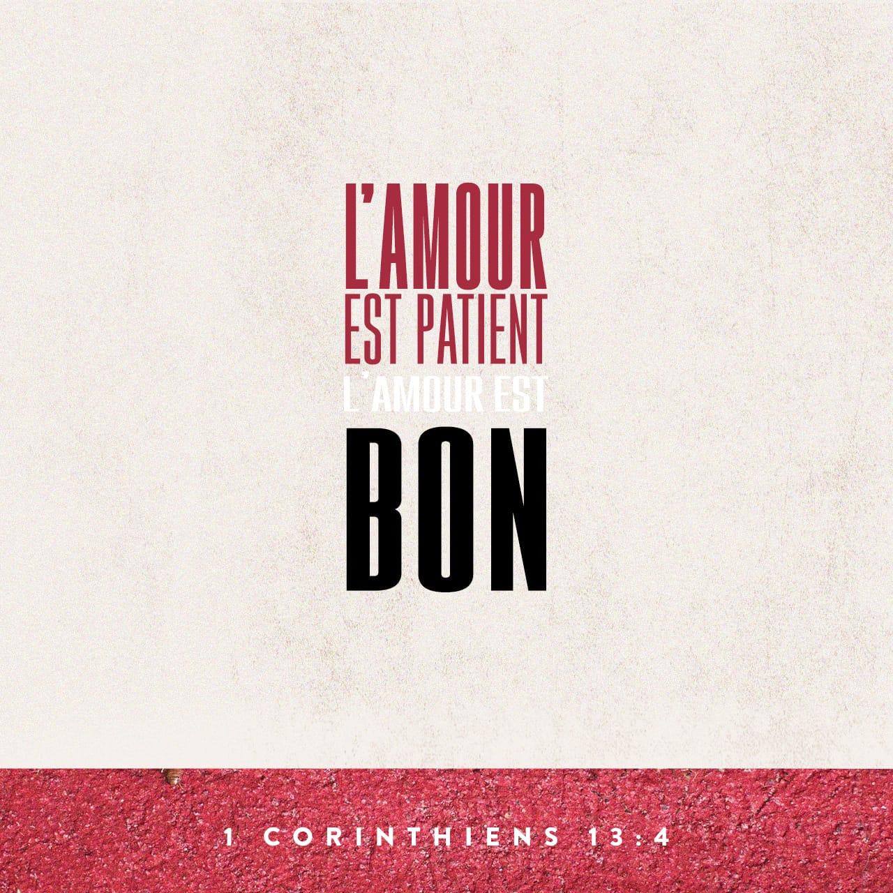 L'amour est patient, il est plein de bonté. - 1 Corinthiens 13:4 - Verset illustré