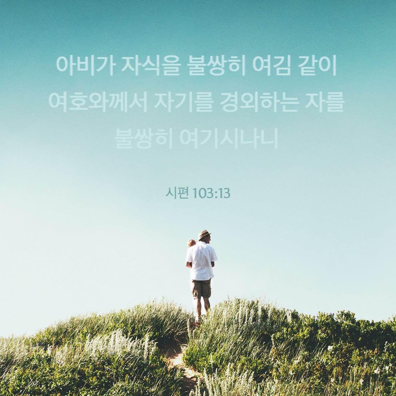 주아비가 자식을 불쌍히 여김 같이 여호와께서 자기를 경외하는 자를 불쌍히 여기시나니 - 시편 103: 13 - 말씀 이미지