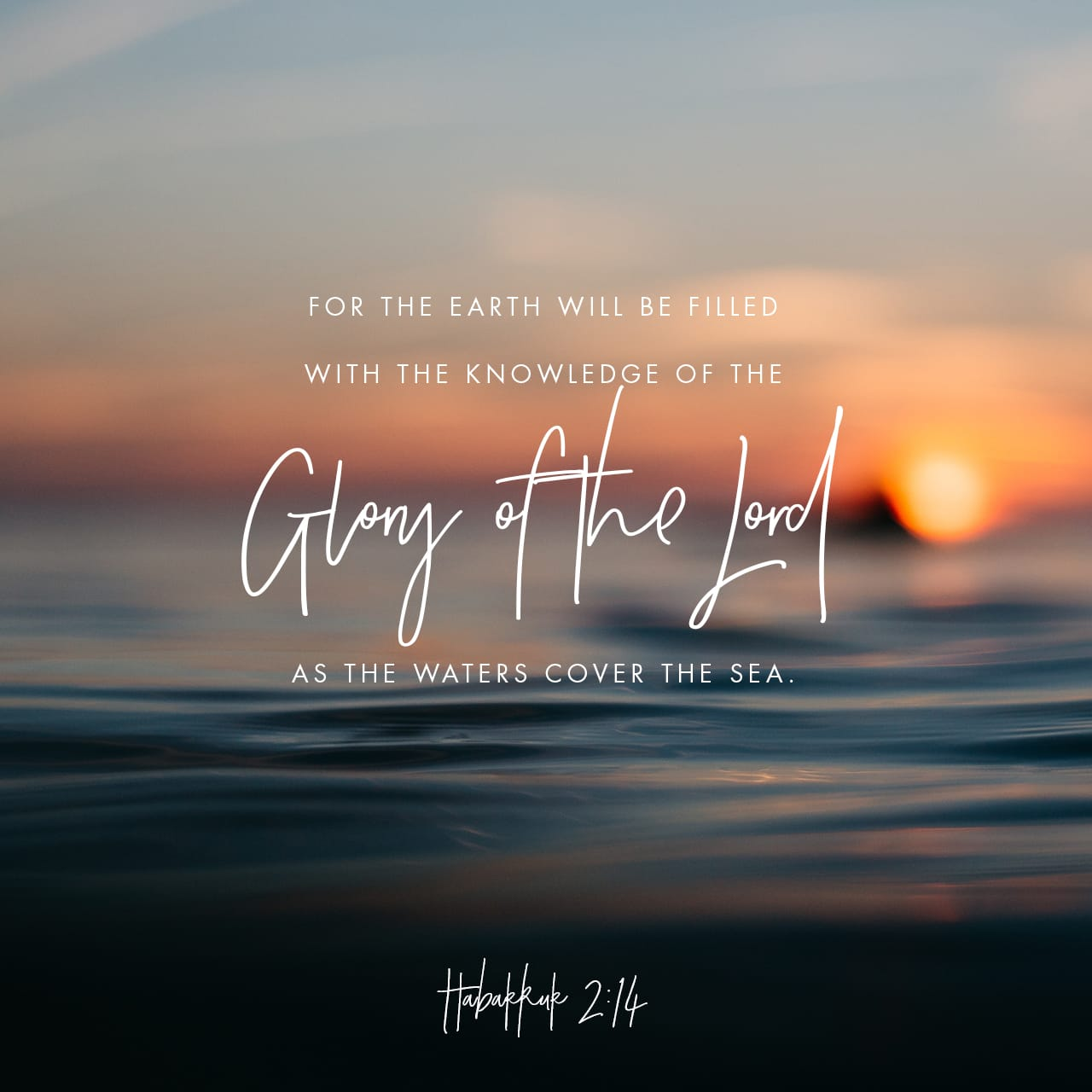 Habakkuk 2:14 For the earth will be filled with the knowledge of the glory of the LORD as the waters cover the sea. | New International Version (NIV)