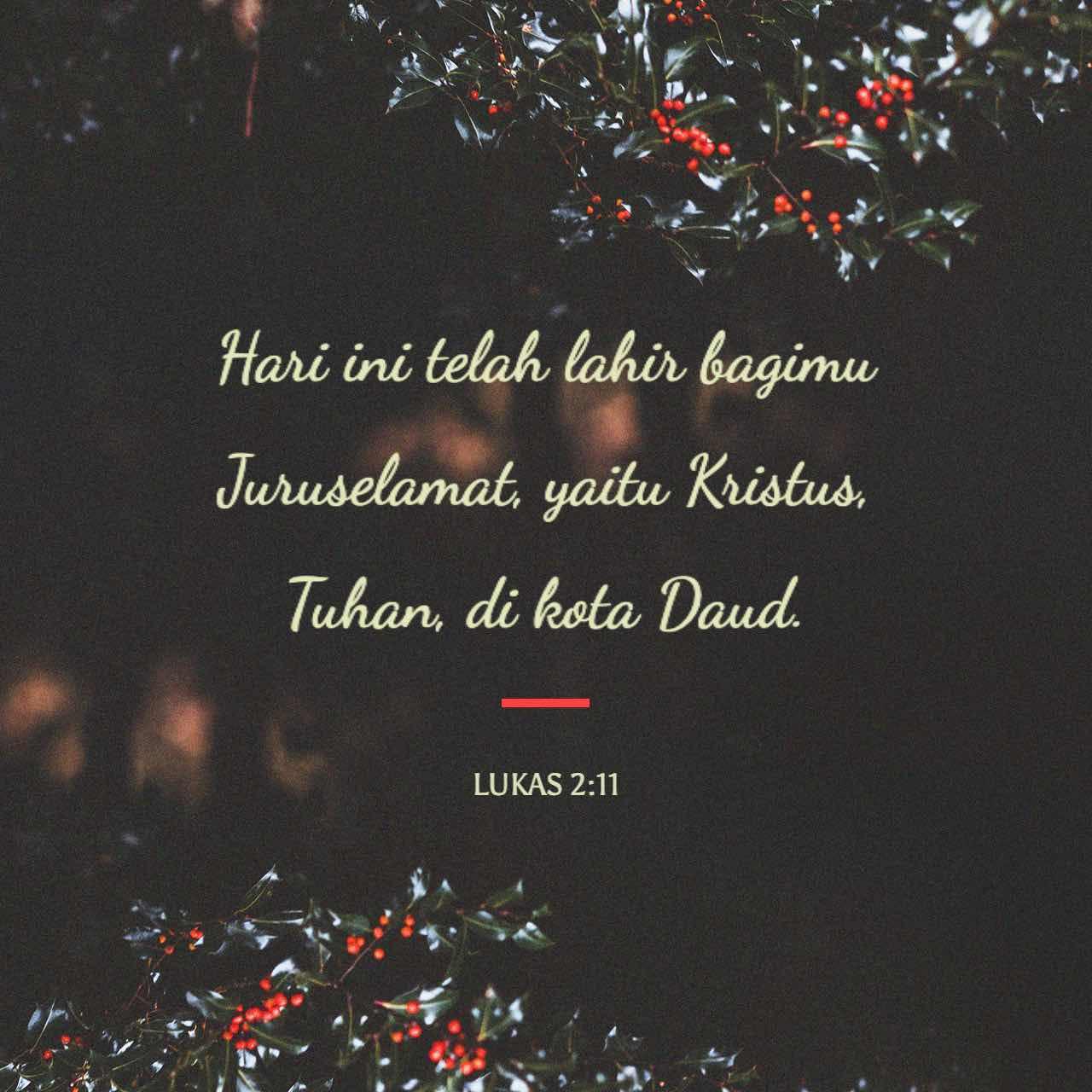 Hari ini telah lahir bagimu Juruselamat, yaitu Kristus, Tuhan, di kota Daud.- Lukas 2:11- Gambar Ayat