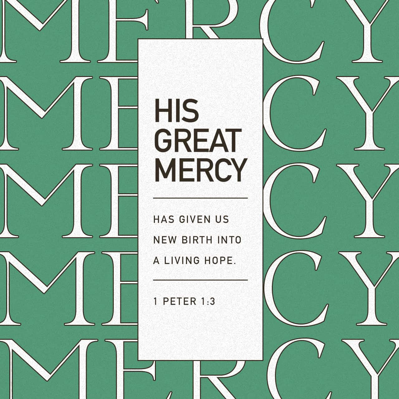 His great mercy has given us new birth into a living hope - 1 Peter 1:3 - Verse Image