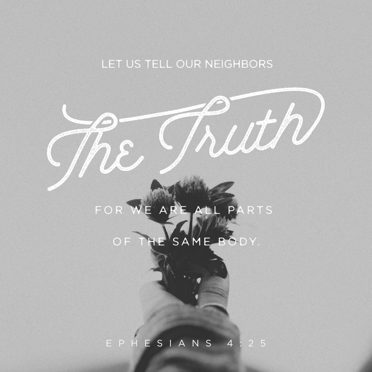 Ephesians 4:25 Wherefore, putting away falsehood, speak ye truth each one with his neighbor: for we are members one of another. | American Standard Version (ASV)