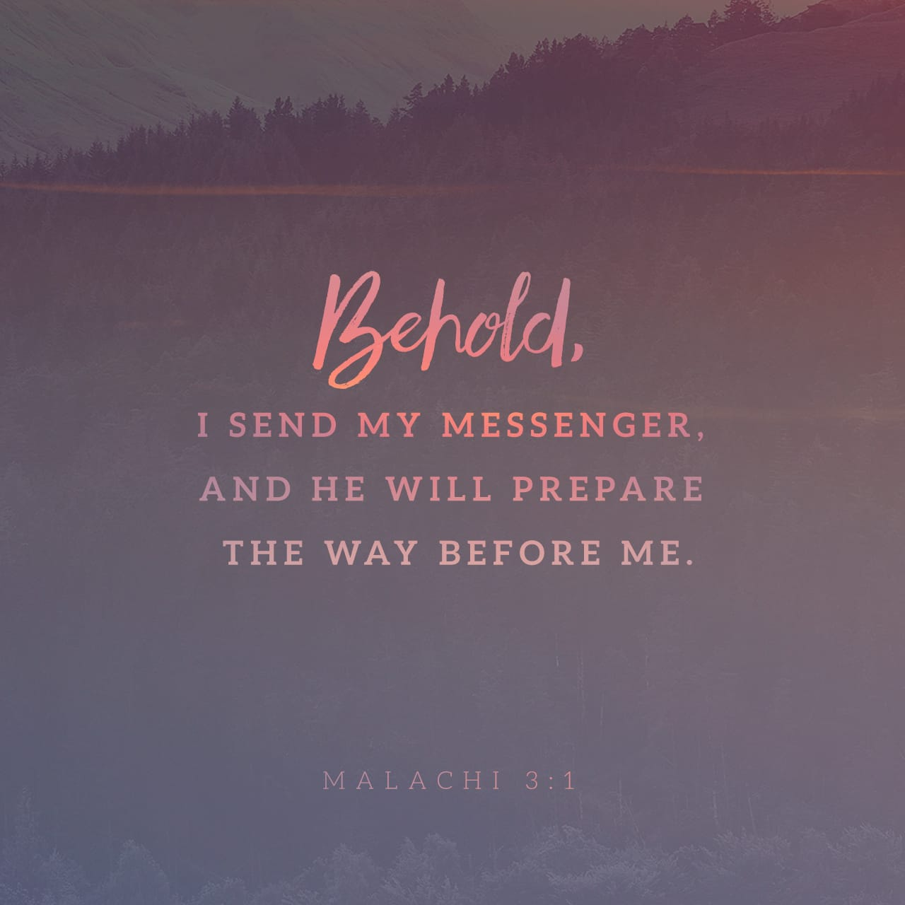 "Malachi 3:1 ""I will send my messenger, who will prepare the way before me. Then suddenly the Lord you are seeking will come to his temple; the messenger of the covenant, whom you desire, will come,"" says the LORD 