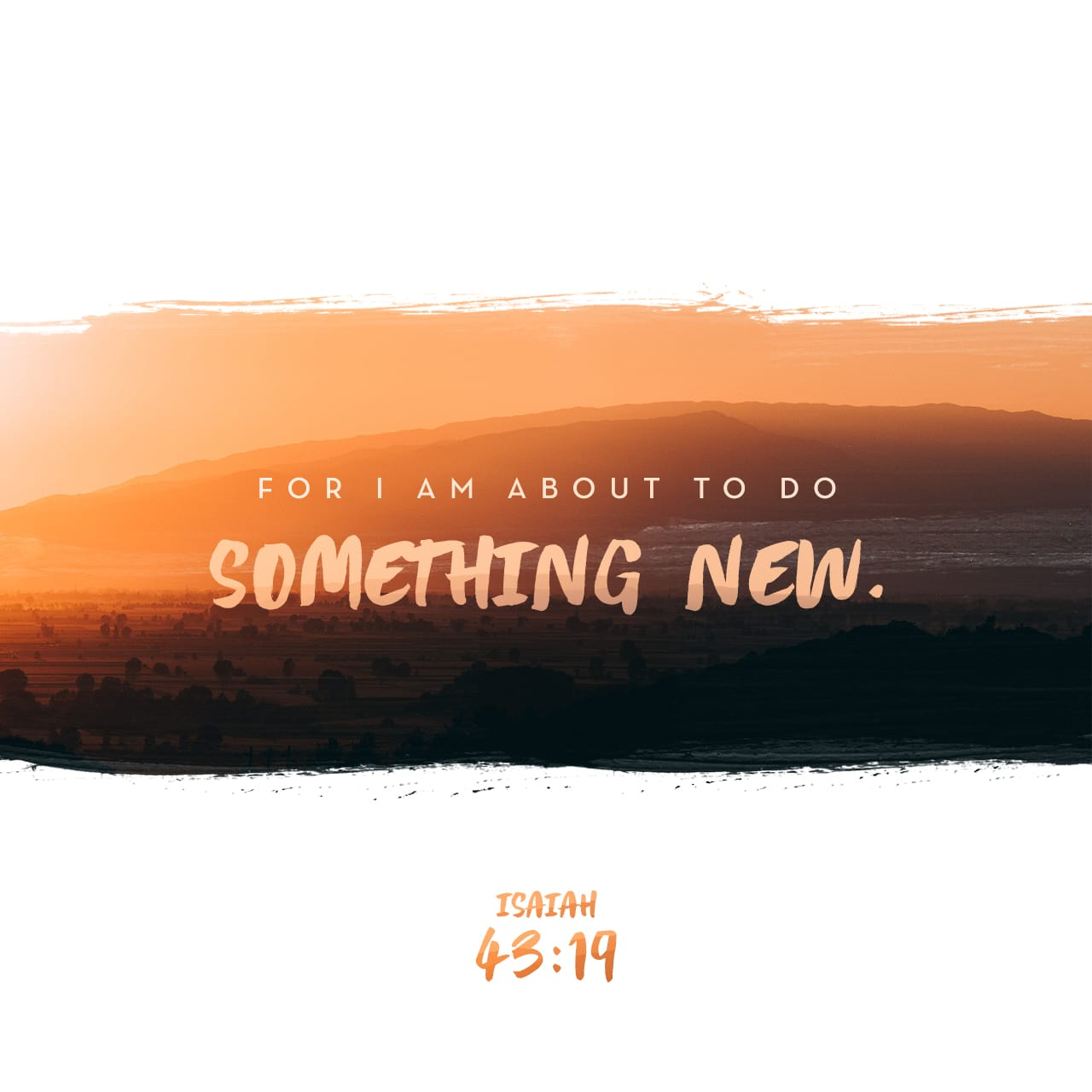 Isaiah 43:19 See, I am doing a new thing! Now it springs up; do you not perceive it? I am making a way in the wilderness and streams in the wasteland. | New International Version (NIV)
