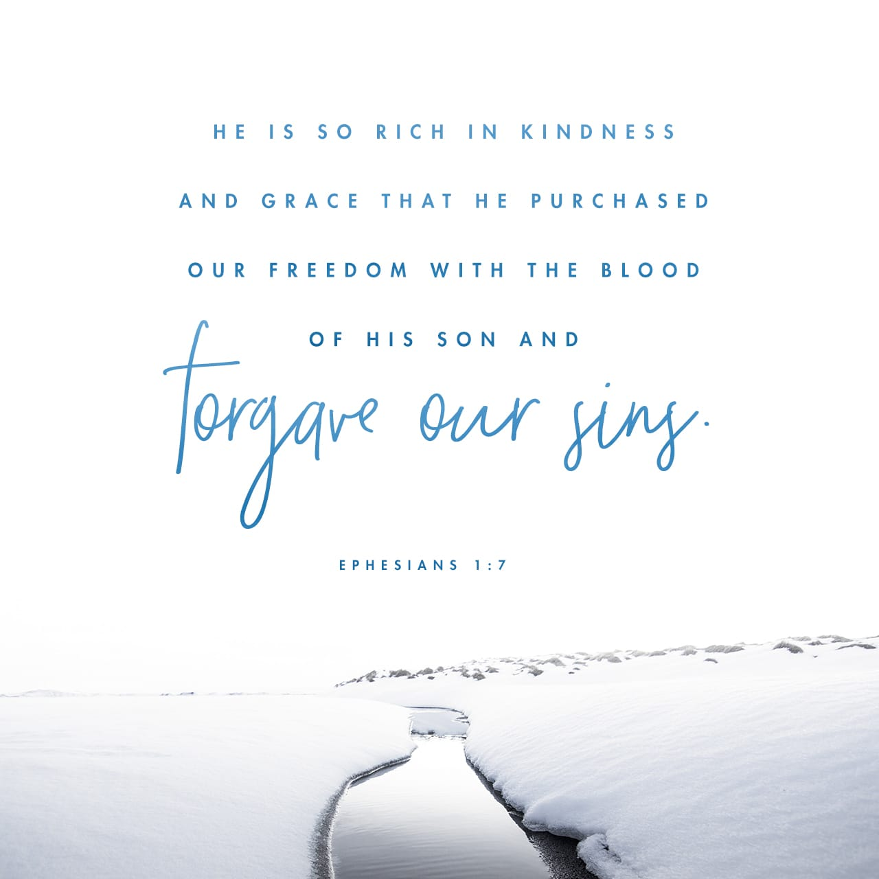 Ephesians 1:7 He is so rich in kindness and grace that he purchased our freedom with the blood of his Son and forgave our sins. | New Living Translation (NLT)