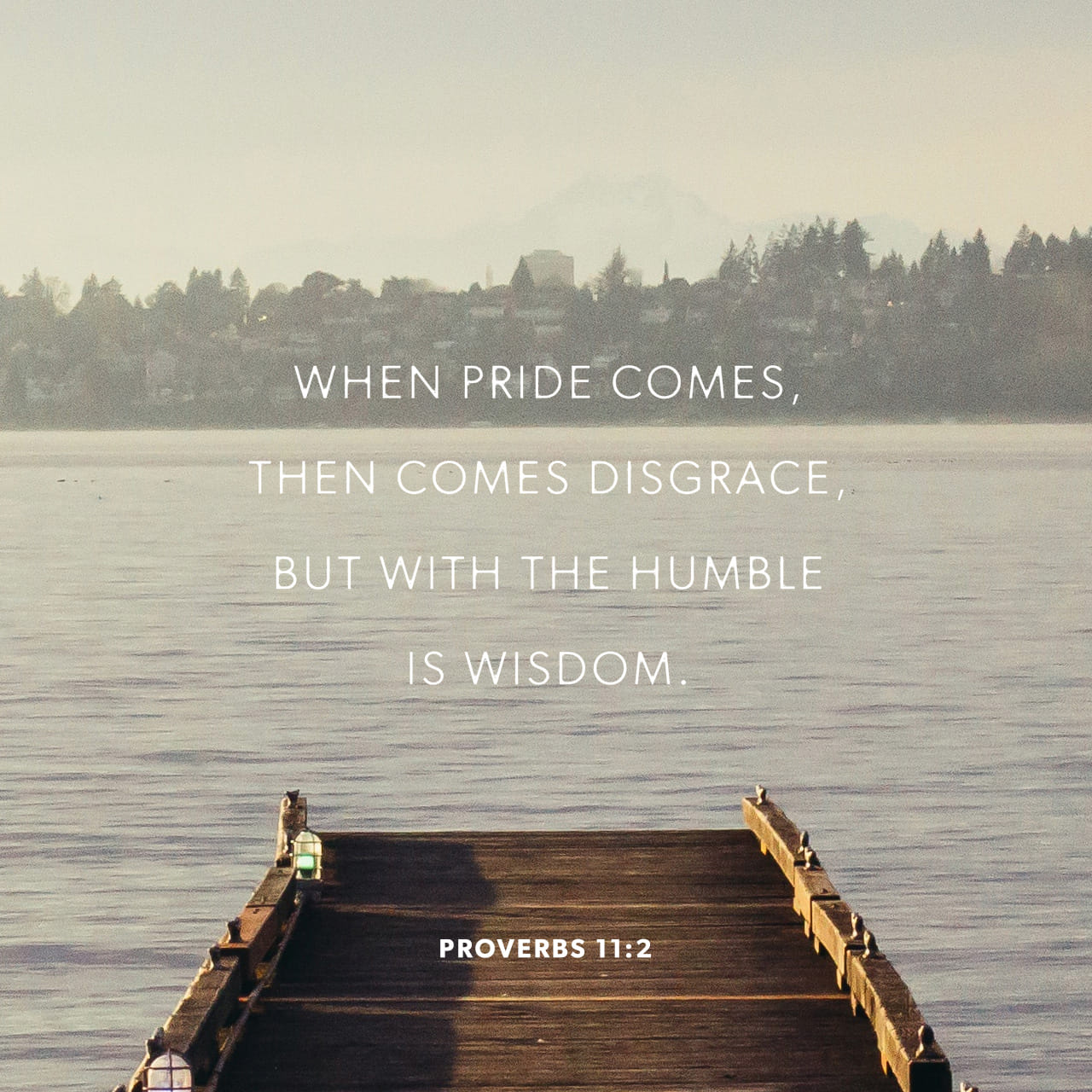 Proverbs 11:2 Pride leads to disgrace, but with humility comes wisdom.   New Living Translation (NLT)