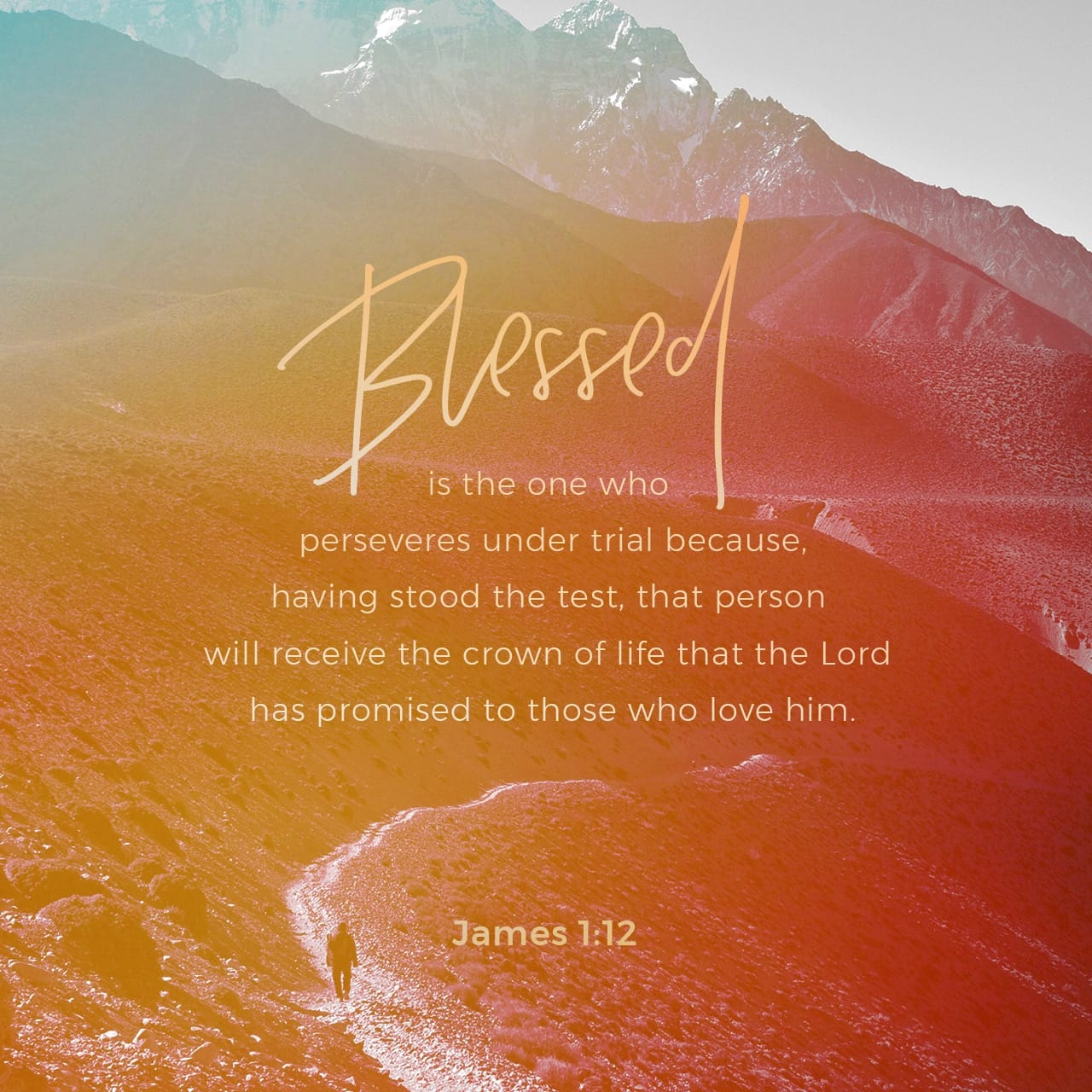 James 1:12 Blessed is the one who perseveres under trial because, having stood the test, that person will receive the crown of life that the Lord has promised to those who love him. | New International Version (NIV)