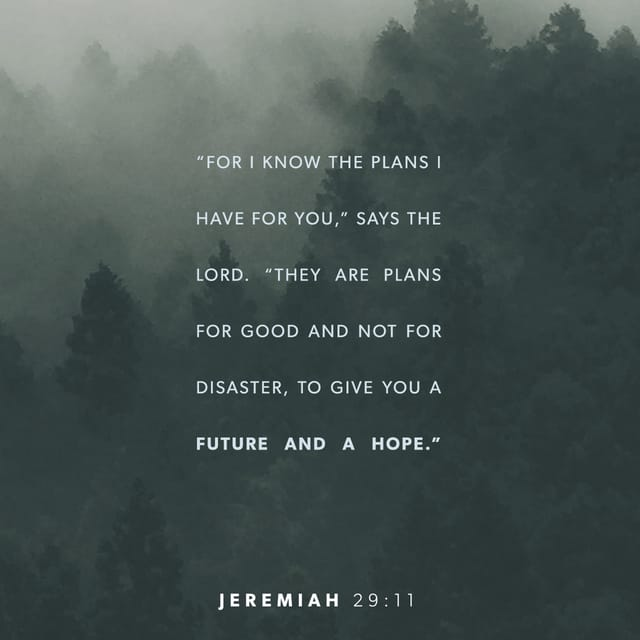 Jeremiah 29:11 CEB; I know the plans I have in mind for you, declares the LORD ; they are plans for peace, not disaster, to give you a future filled with hope.