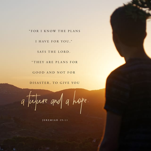 Jeremiah 29:11 AMPC; For I know the thoughts and plans that I have for you, says the Lord, thoughts and plans for welfare and peace and not for evil, to give you hope in your final outcome.